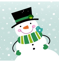 Cute winter snowman isolated on snowing background vector