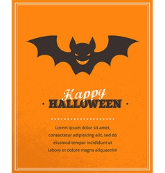 Halloween cute poster with bat silhouette vector