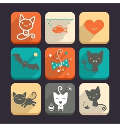 Set of cats and animal icons part 2 vector
