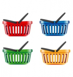 Coloured shopping basket vector