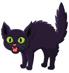 Frightened cartoon black cat vector