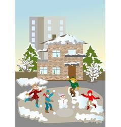Kids christmas winter games vector