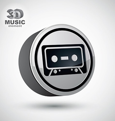 Audio cassette icon isolated 3d music theme design vector
