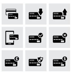 Black credit card icon set vector