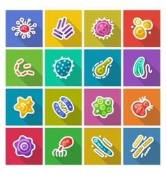 Germs and bacteria flat icons set vector