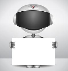 Robot holding white paper vector