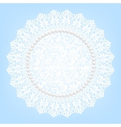 Lace fabric doily and pearls vector
