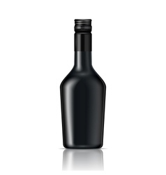 Black glass liqueur bottle with screw cap vector