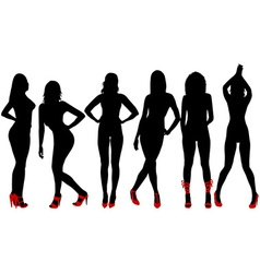 Silhouettes of sexy women with red shoes vector