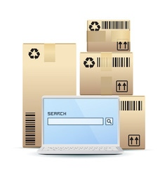 Icon laptop with cardboard boxes vector