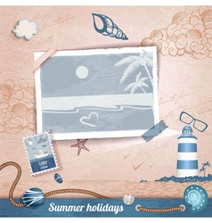 Summer scrapbooking photo album vector