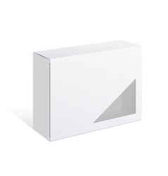 Package cardboard box with a window vector