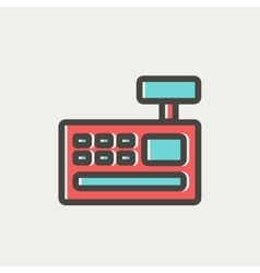 Cash register machine thin line icon vector