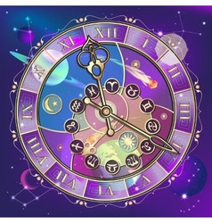 Watch with astrological signs vector