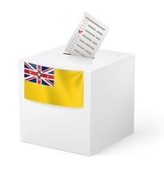 Ballot box with voting paper niue vector