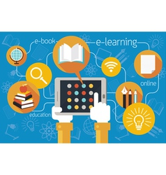 Hands and tablet school online e-learning icons vector