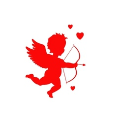 Red cupid silhouette vector
