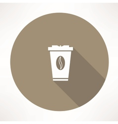 Plastic cup with coffee icon vector