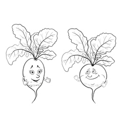 Character radish outline vector