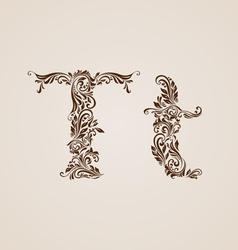 Decorated letter t vector