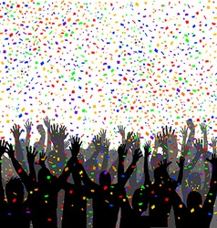 People silhouettes enjoying confetti vector