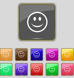 Smile happy face icon sign set with eleven colored vector
