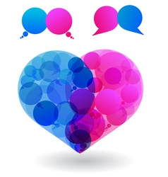 Speech bubbles heart vector