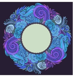 Round frame winter ornate vector