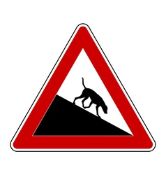 Slope warning sign for dogs vector
