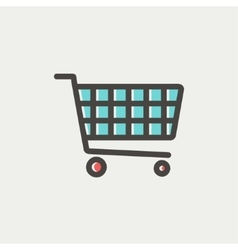Shopping cart thin line icon vector