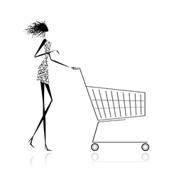 Woman with shopping cart for your design vector