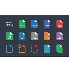 Set of audio file extension icons vector