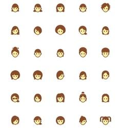 Women faces icon set vector
