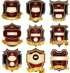 Set of gold-framed labels vector