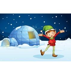 An elf and an igloo vector