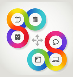 Color circle web interface template with icons vector