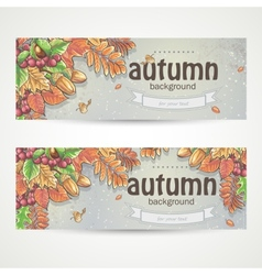 Set of two horizontal banners with the image of vector