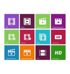 Video icons on color background vector