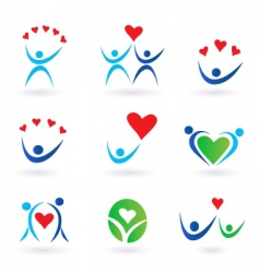 Love relationship and community icons vector