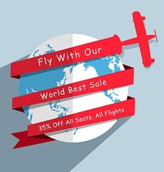 Globe and plane modern design template vector