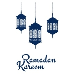 Ramadan kareem design with arabic lanterns vector