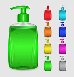 Set of multicolored bottles of liquid soap vector
