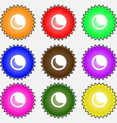 Moon icon sign a set of nine different colored vector