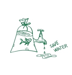 Doodle save water concept vector