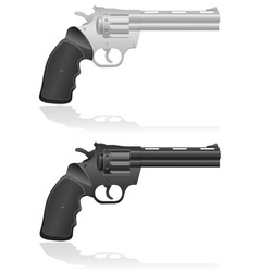 Silver and black revolvers vector