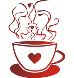 Tea coffee cup valentines day pair vector