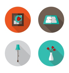 Flat decor furniture icons set vector