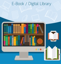 Computer and books e-book and digital library vector