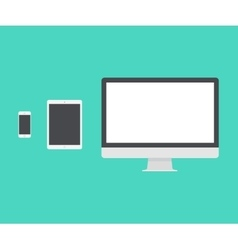 Electronic device laptop phone tablet flat vector