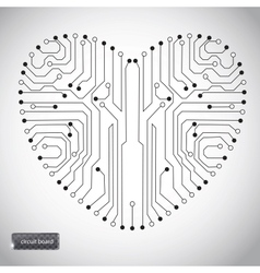 Circuit board with in heart shape pattern vector